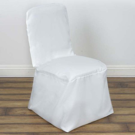 - 5PCS Square Top Polyester Wedding Banquet Chair Cover, Ivory