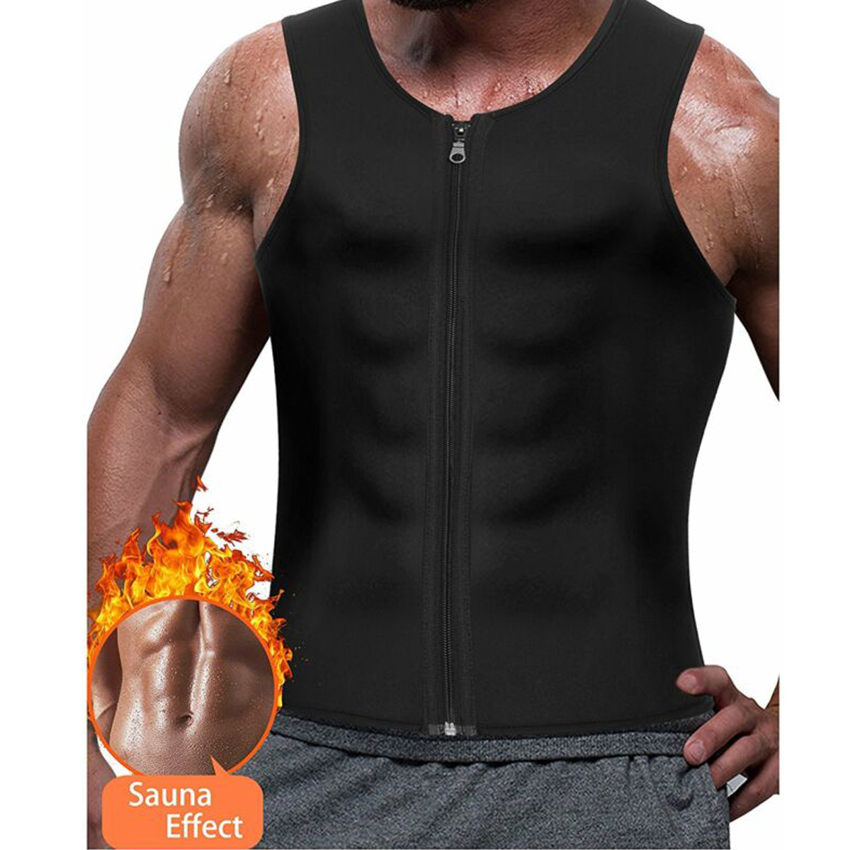 Hot Sweat Vest Neoprene Fat Burning Zipper Body Shapers Weight Loss Shirt for Women
