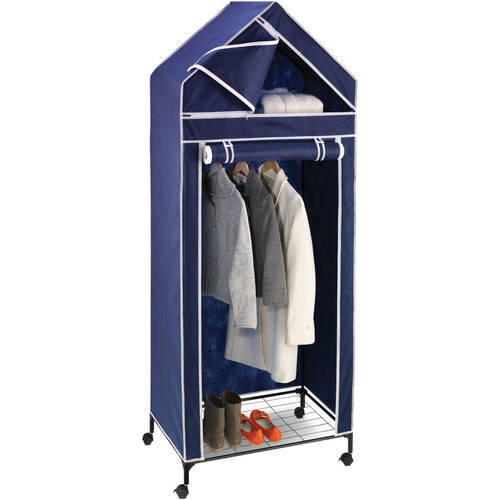"Honey Can Do 30"" Portable Storage Closet, Navy/White Trim"