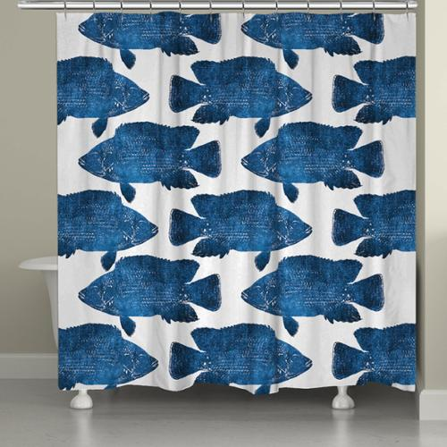 Laural Home School of Indigo Fish Shower Curtain