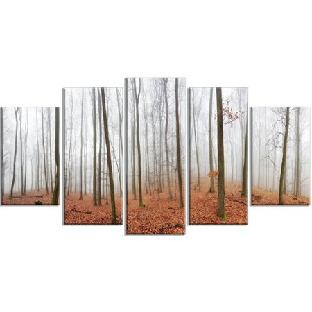 Design Art 'Fall Forest with Trees at Mist' 5 Piece Photographic Print on Wrapped Canvas Set
