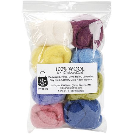 Wistyria Editions Wool Roving  12  Long  2 Ounce  8 Color  Muted