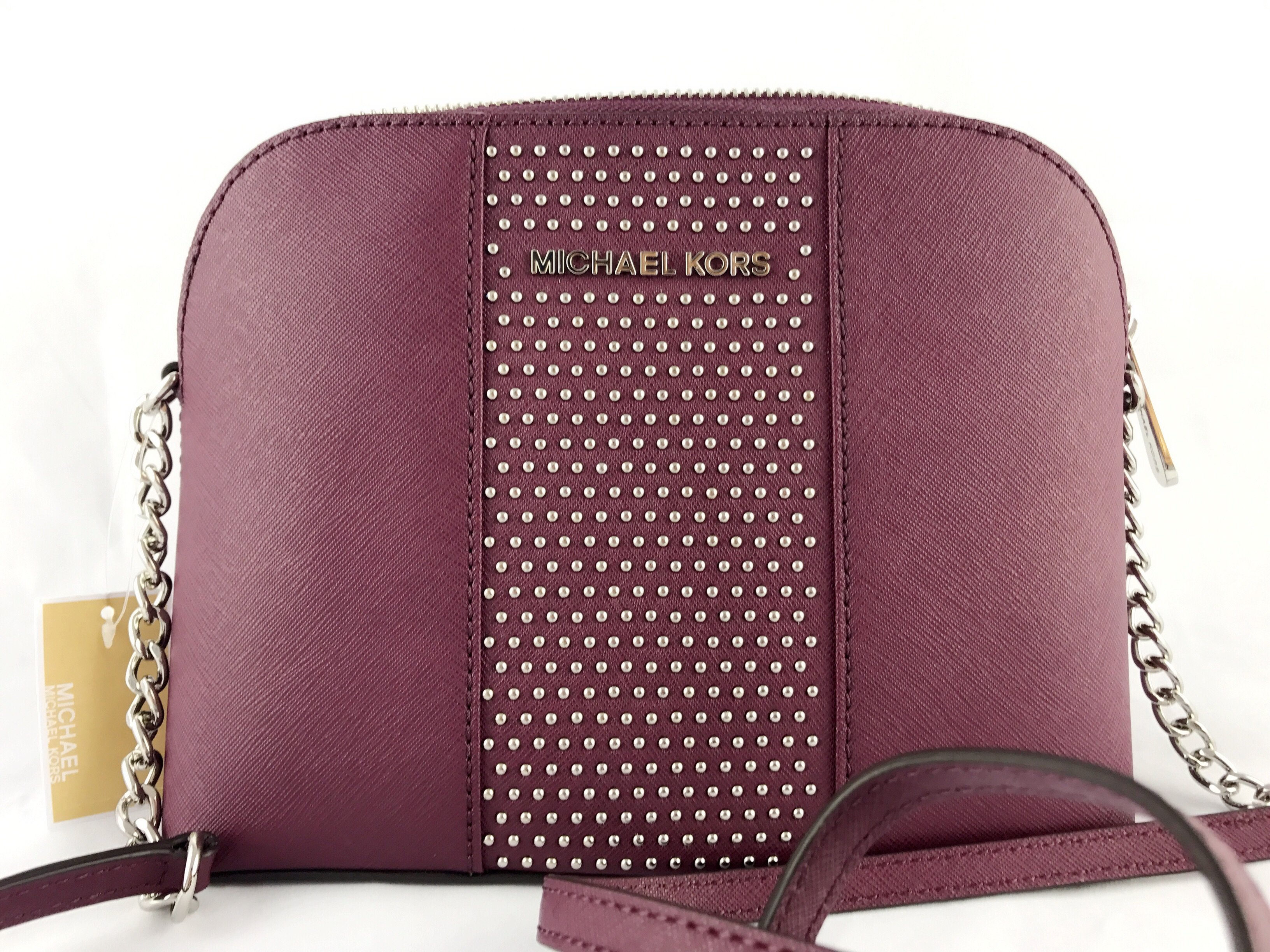 e58e0867b0dd ... discount michael kors micro studded cindy dome chain crossbody bag plum  walmart a7a82 e61bf