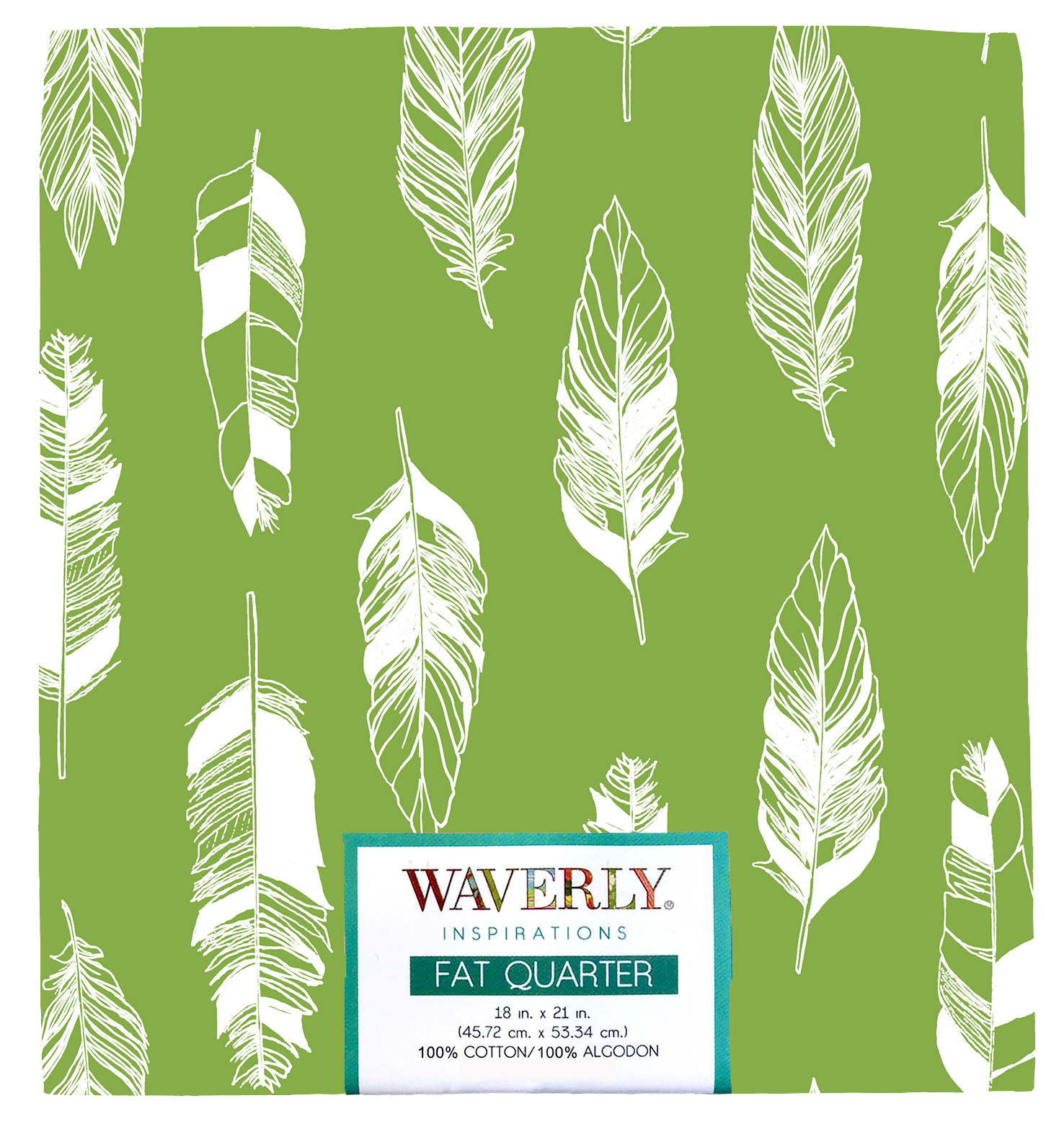"Waverly Inspiration Fat Quarter FEATHER ONYX 100% Cotton, Feather Print Fabric, Quilting Fabric, Craft fabric, 18"" by 21"", 140 GSM"