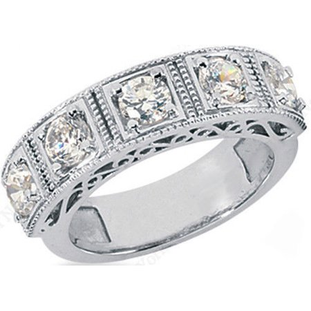 2ct Round Cut 5 Diamond Anniversary Wedding Band, Size 6, Vintage Style, 0.4ct each, - Diamond Platinum Vintage Bands
