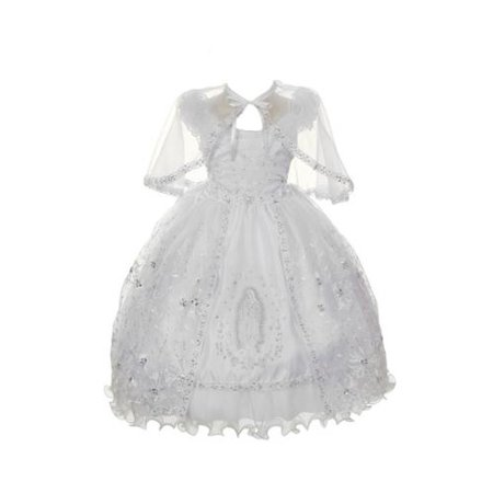Rain Kids Little Girl White Organza Rhinestone Baptism Cape Dress - Online Kid Boutiques