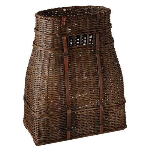 "24.75"" Tall Dark Brown Woven Rattan Storage Basket with Leather Accents"