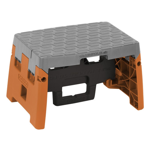 Cosco 1 Step Molded Folding Step Stool, Type 1A, Black, Orange and Gray