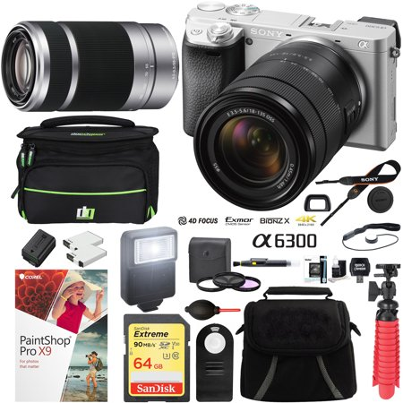 Sony a6300 4K Mirrorless Camera with 18-135mm & 55-210mm Lens (Silver) ILCE-6300M/S with Carry Case 64GB SDXC Memory Card Pro Photograpy Bundle (Sony 65 Camera)