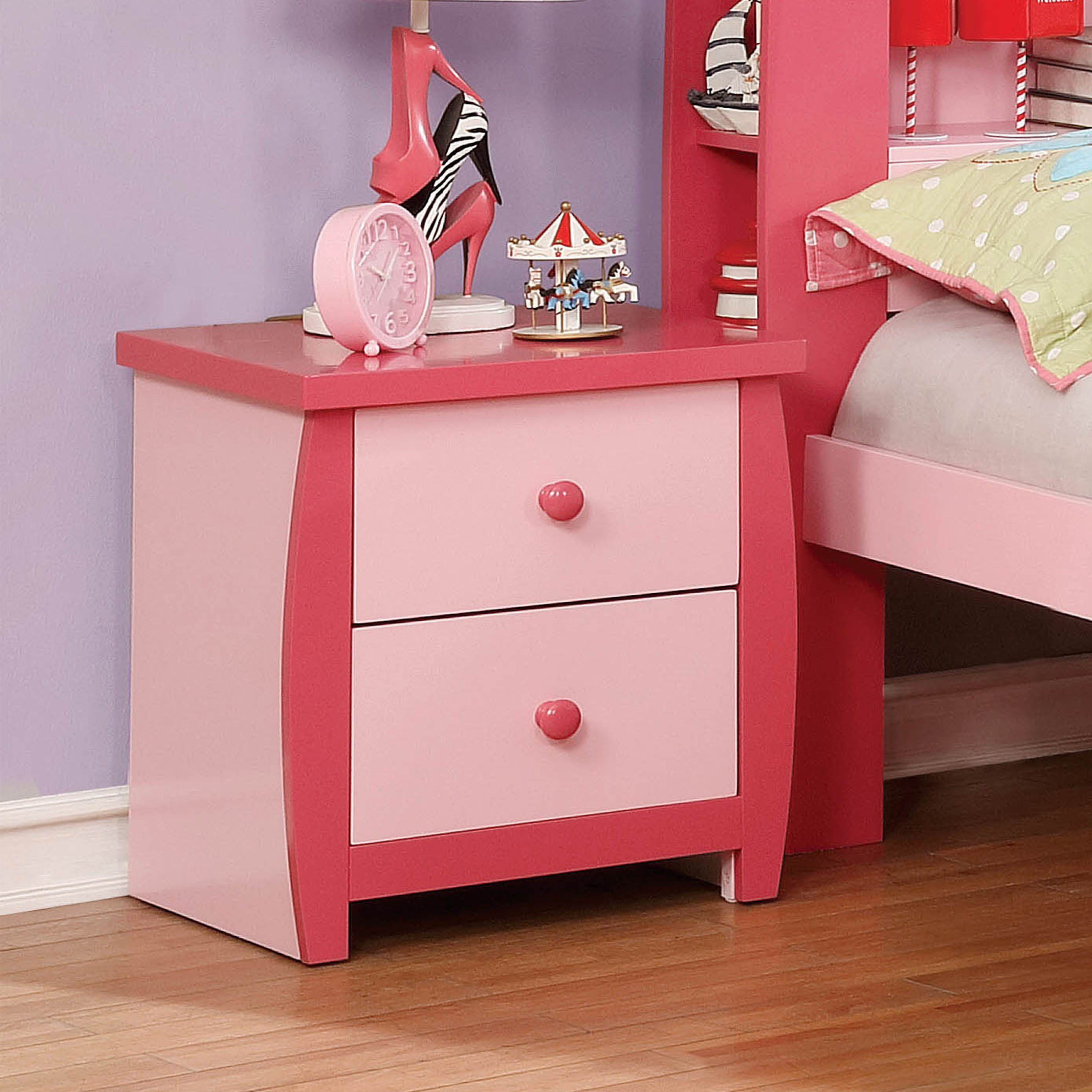 Furniture of America Lucio Pink Nightstand