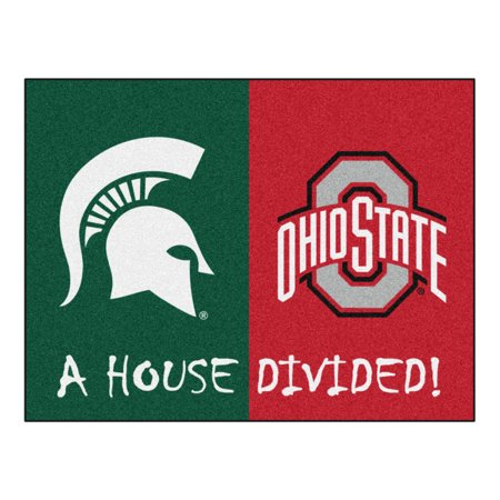 Michigan State - Ohio State House Divided Rug (Michigan State Basketball Rugs)