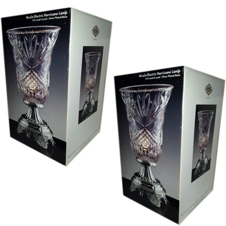 Nicole Electric Hurricane Lamp by Godinger with 24% Lead Crystal Set of 2 Gift Bundle [2 Piece]