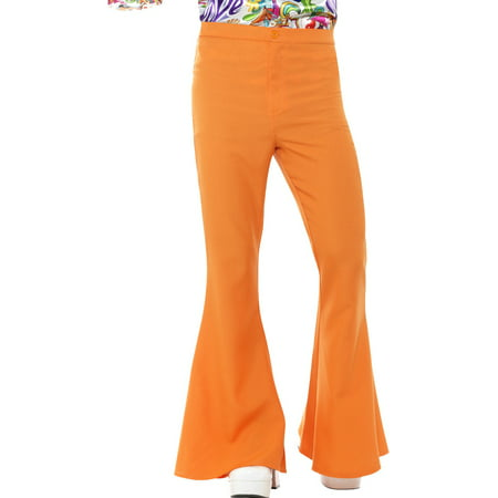Mens 70s Groovy Disco Fever Flared Orange Pants - Disco Clothes 70s