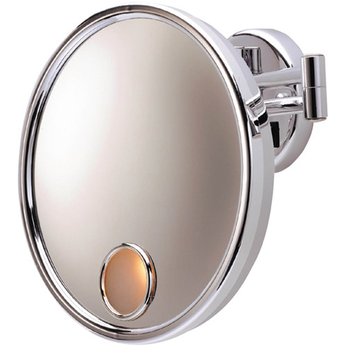 "Jerdon Hard-Wired 9"" Wall Mount Mirror with 3x Magnification, 13.5"" Extension, Chrome"