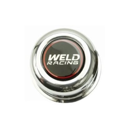 Weld Racing Wheels P605-5093 Wheel Center Cap  Fits Draglite And Rodlite 4 Lug Wheels; 2.93 Inch Diameter; 3.25 Inch Height; Closed Style; Polished; Black Logo; Push Through; Single - image 1 of 1