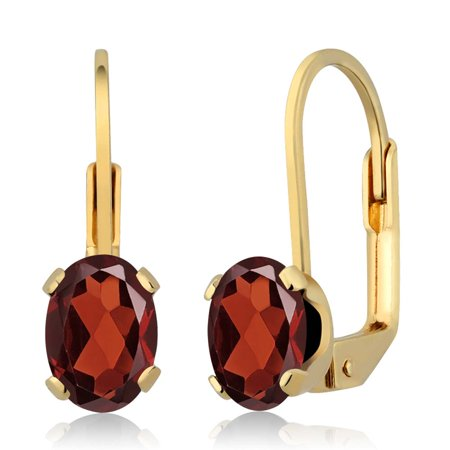 - 1.80 Ct Oval Shape Red Garnet Yellow Gold Plated Brass Stud Earrings