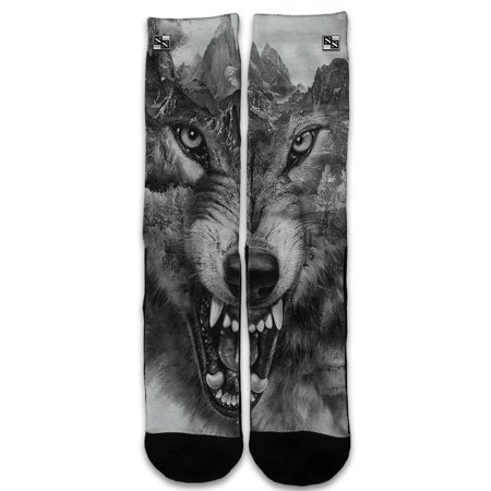 Custom Elite Style Athletic Sport Socks Crew 18 Inch / Angry Wolf Growling