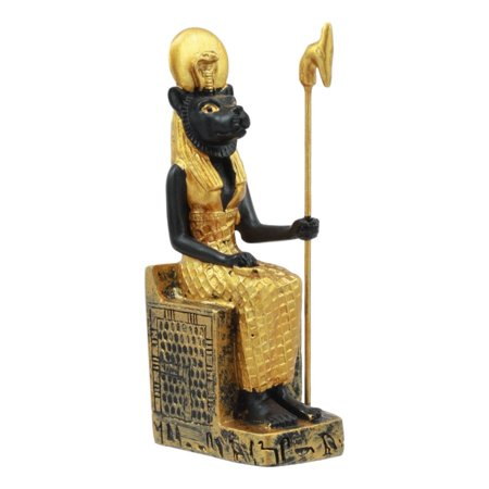 Ebros Egyptian Classical Deities Miniature Figurine Gods Of Egypt Dollhouse Miniature Statue Legends Of Ancient Egypt Educational Sculpture Collectible (Sekhmet Seated On Throne) (Ancient Chinese Sculpture)