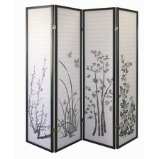 Legacy Decor Black 4 Panel Japanese Oriental Style Bamboo Flower Design Wood Shoji Screen Room Divider