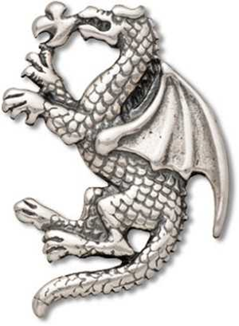 Sterling Silver 7 4.5mm Charm Bracelet With Attached Fantasy Winged Dragon Charm