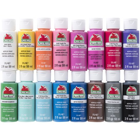 Apple Barrel Acrylic Paint Set, 16 Piece (2-Ounce), Best Selling Colors, (Best Paint For Clay)