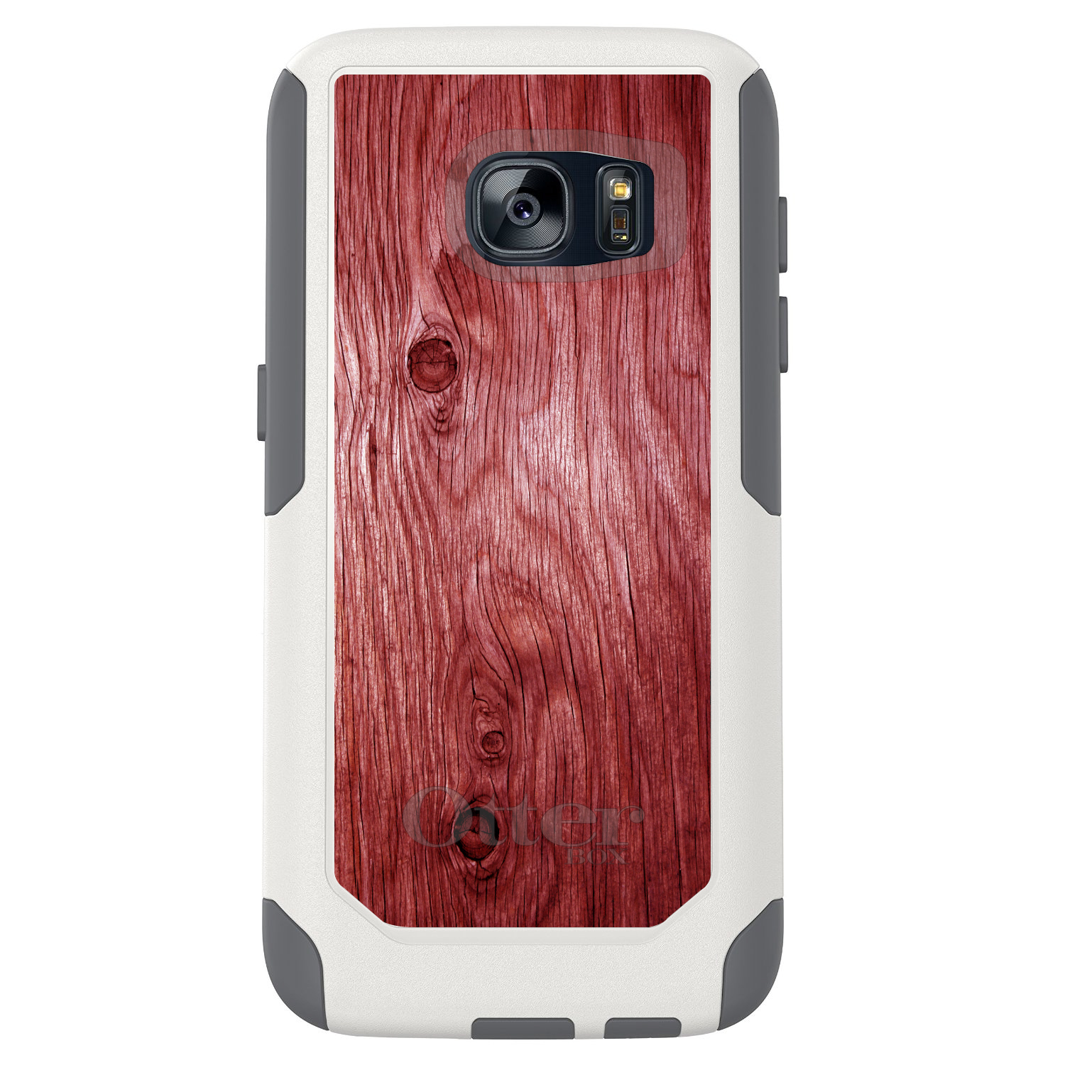 DistinctInk™ Custom White OtterBox Commuter Series Case for Samsung Galaxy S7 - Dark Red Weathered Wood Grain Print