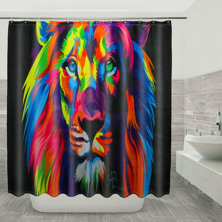 Colorful Lion Waterproof Shower Curtain OR Toilet Cover Mat Rug Cover Bathroom Mat ()
