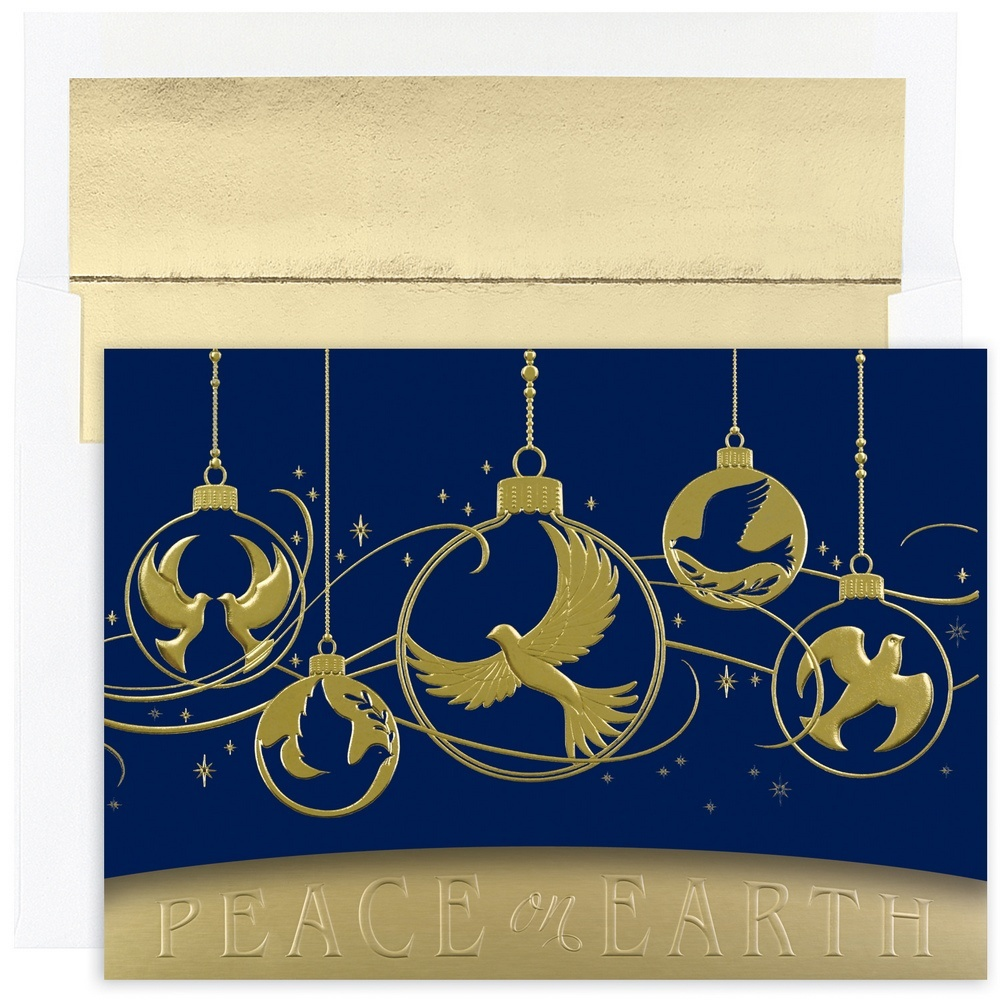 JAM Paper Christmas Card Set, Dove Ornaments Holiday Cards, 16 Cards & Envelopes/Pack