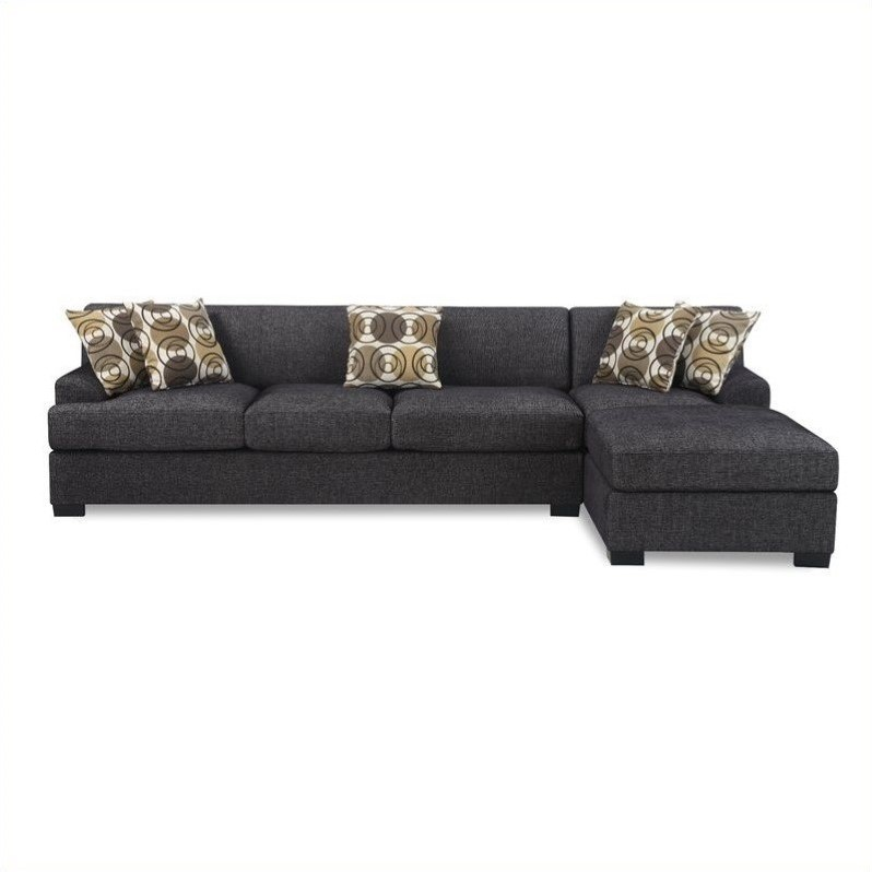 Poundex Benford Faux Linen Chaise-Sofa Sectional in Ash Black - Walmart.com