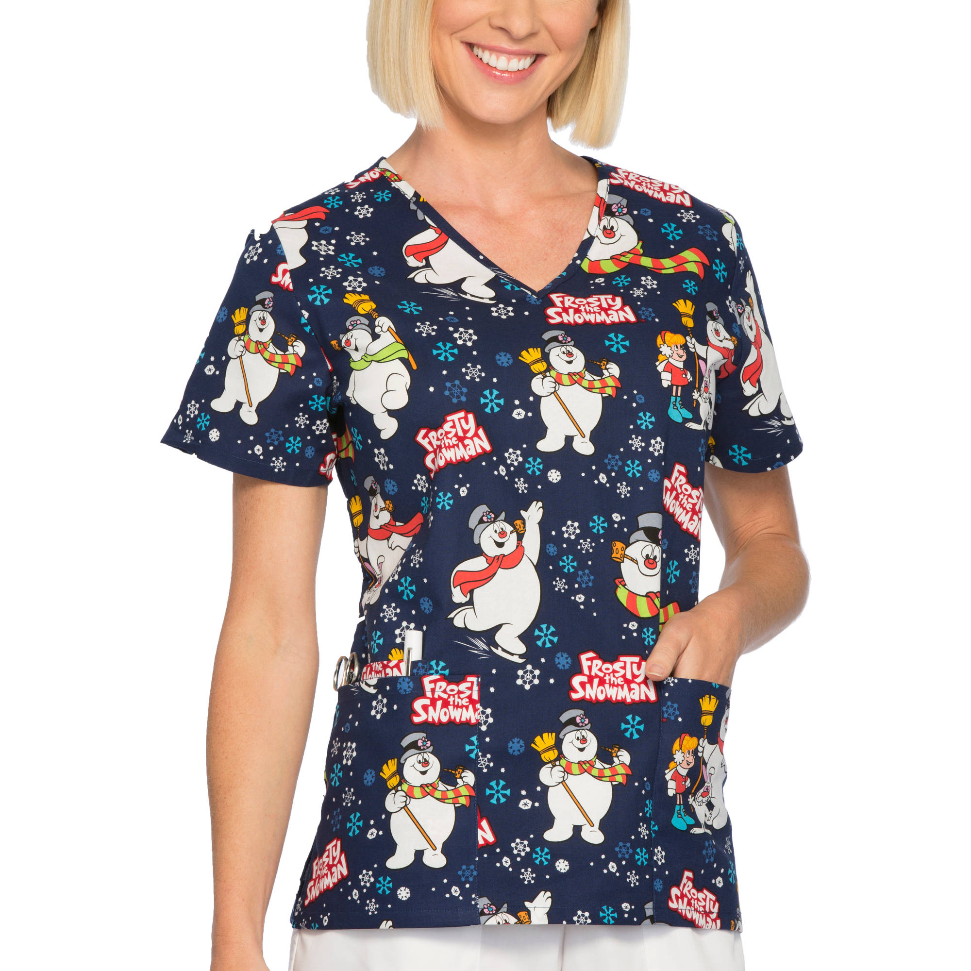 Frosty Women's Fashion Collection Holiday Cotton V-Neck Scrub Top