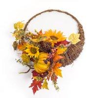 "20.5"" Yellow Artificial Sunflower Gourd Cornucopia Thanksgiving Wreath"