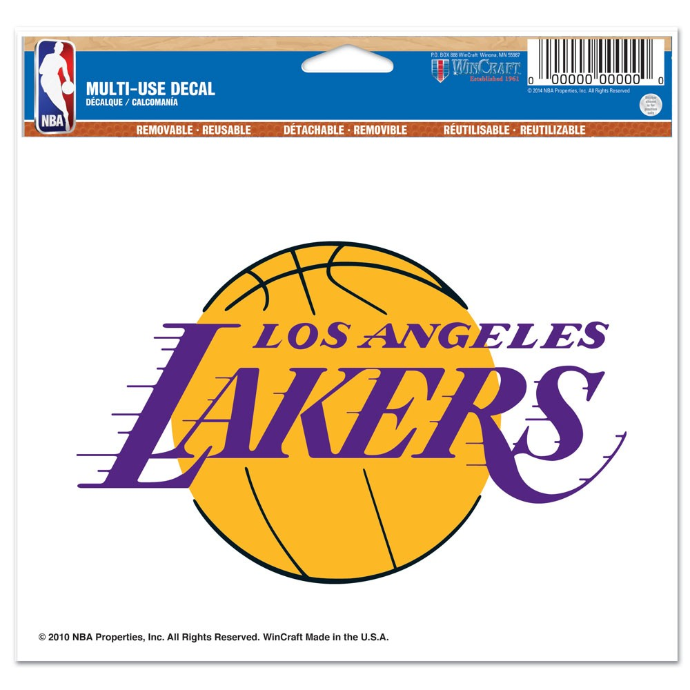 Los Angeles Lakers Official NBA 4 inch x 6 inch  Car Window Cling Decal by WinCraft
