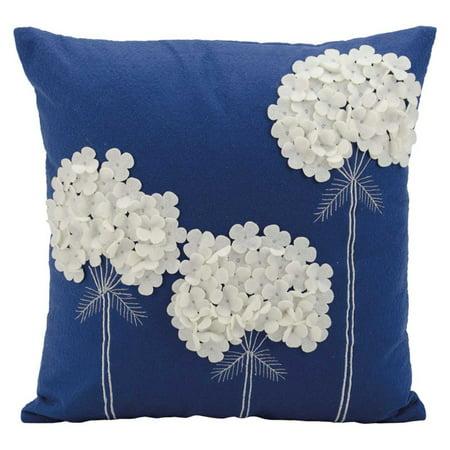 Nourison Felt Three White Flowers Navy Throw Pillow - Navy Pillow