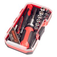 Ratcheting Screwdriver with 41 Piece Bit and Socket Set - Stubby Handle Multitool with Metric and SAE Drivers and Precision Bits by Stalwart