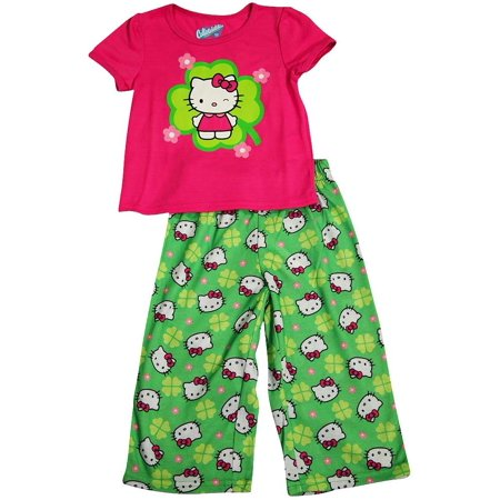 Hello Kitty - Little Girls Short Sleeve Hello Kitty Pajama MULTICOLOURED / 2T - Nerdy Hello Kitty