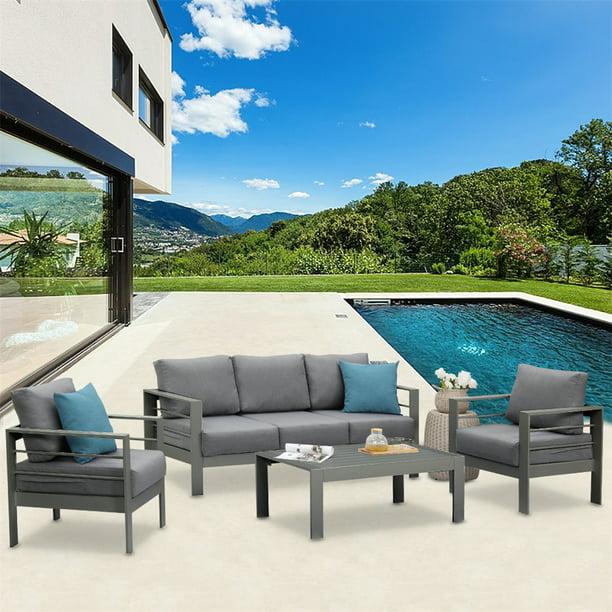 Outdoor Aluminum Furniture Set - 5 Seats Patio Sectional Chat Sofa