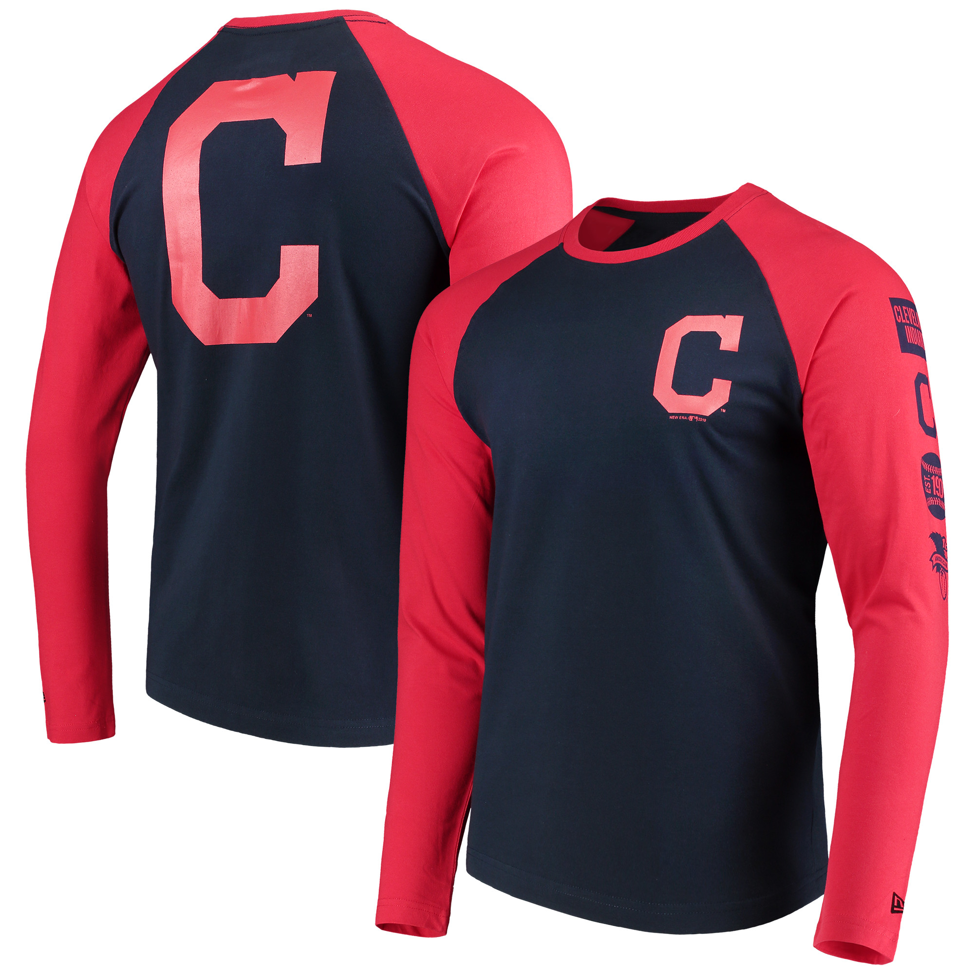 Cleveland Indians New Era Raglan Long Sleeve T-Shirt - Navy/Red