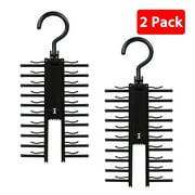 2-pack Adjustable Cross X Tie Rack Hanger Non-Slip Belt Compact Closet Holder Organizer
