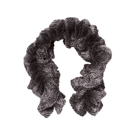 Fur Neck Scarf - Faux Fur Stretchable Scarf Neck Warmer - Grey