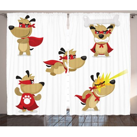 Dog Superhero Costume (Dog Lover Decor Curtains 2 Panels Set, Superhero Puppy With Paw Costume And Mystic Powers Laser Vision Supreme Talents, Living Room Bedroom Accessories, By)