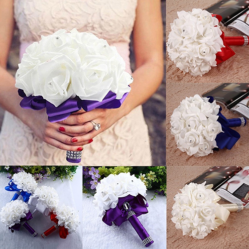 Girl12Queen 1 Bouquet Bride Wedding Party Bridesmaid Rhinestone Decor Foam Artificial Flower