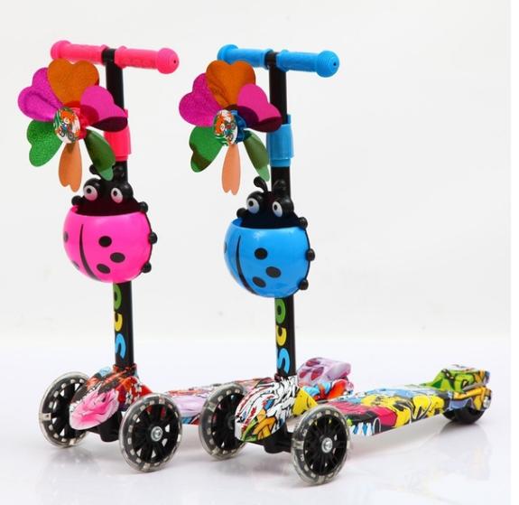 3 Wheel Adjustable Folding Kick Scooter Kids Kick board Push T-Bar LED  ! K