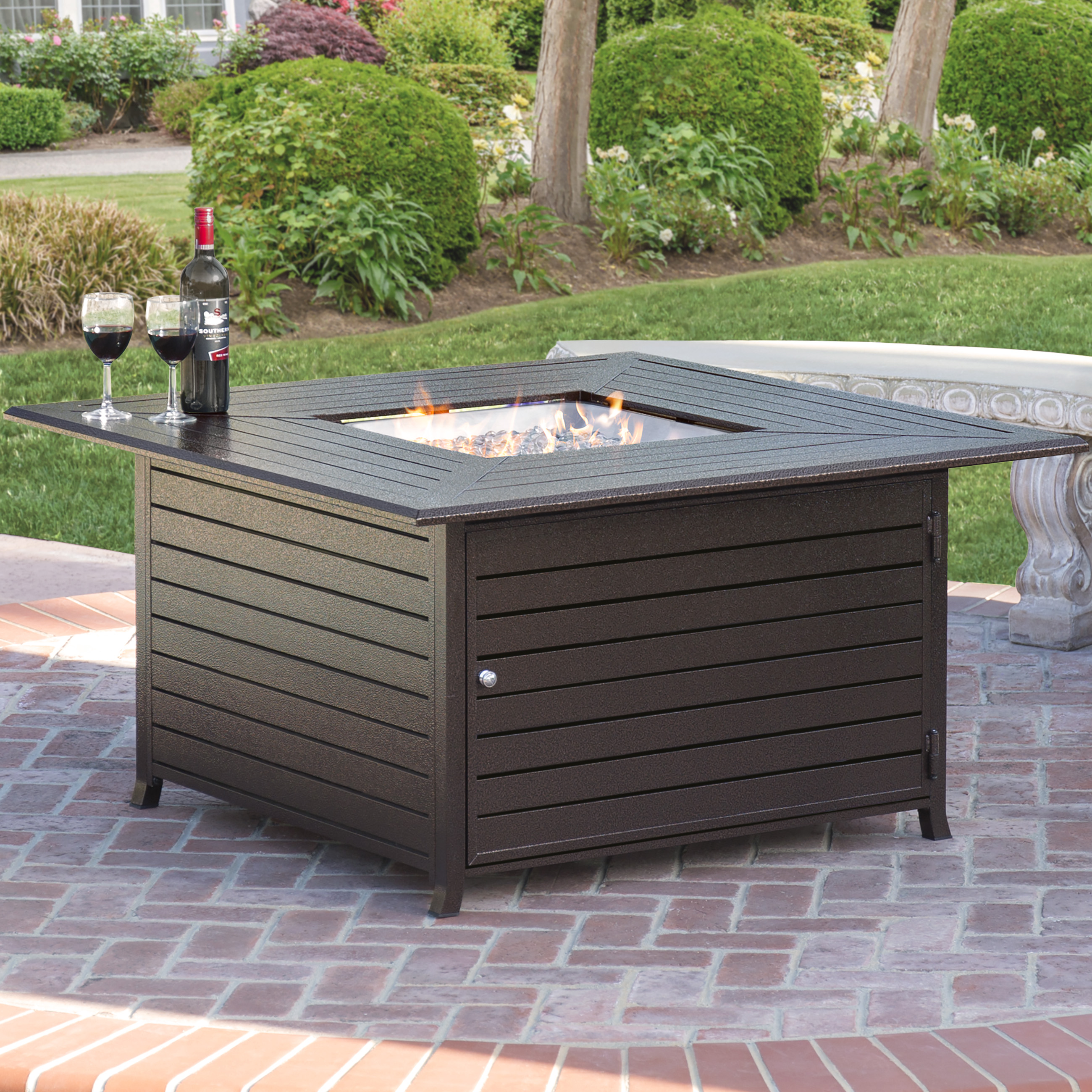Best Choice Products Extruded Aluminum Gas Outdoor Fire Pit Table With Cover Part 53