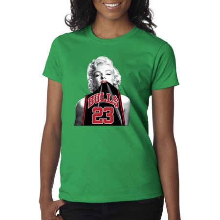 e2b10d948a3 Trendy USA - Trendy USA 420 - Women's T-Shirt Marilyn Monroe Bulls 23  Michael Jordan Jersey Large Kelly Green - Walmart.com