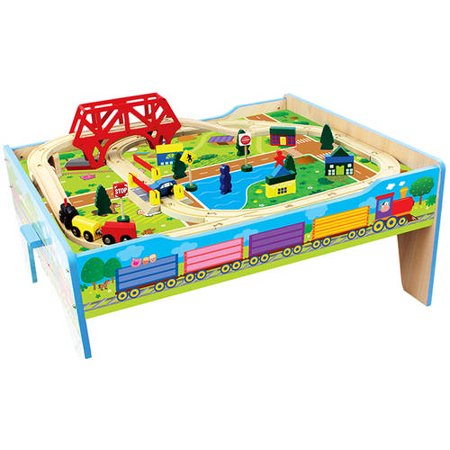 Wood Farm Train Table, - Girl Train Table