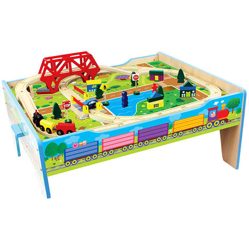 Wood Farm Train Table, 50-Piece