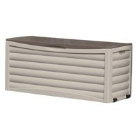 Suncast 103 Gallon Outdoor Resin Deck Storage Box for Patio, Light Taupe