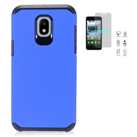Phone Case for Samsung Galaxy J7 Crown/ Galaxy J7 (2018)/ J7 Refine/ J7 V 2nd Gen/ J7 Top/ J7 Star/ J7 Aero, Hybrid Shockproof Slim Hard Cover Protective Case + Tempered Glass Screen Protector (Blue) ()