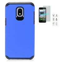 Phone Case for Samsung Galaxy J7 Crown/ Galaxy J7 (2018)/ J7 Refine/ J7 V 2nd Gen/ J7 Top/ J7 Star/ J7 Aero, Hybrid Shockproof Slim Hard Cover Protective Case + Tempered Glass Screen Protector (Blue)