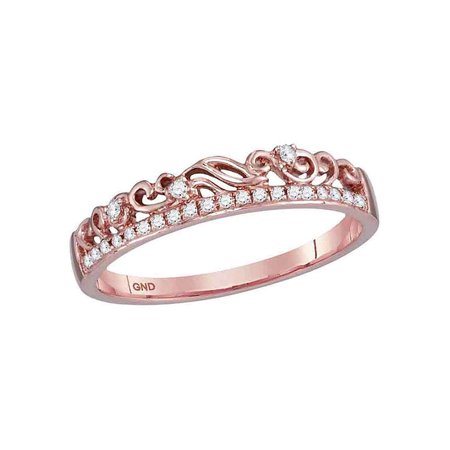 10kt Rose Gold Womens Round Diamond Floral Accent Stackable Band Ring 1/12 Cttw